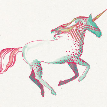 Pink Unicorn Temporary Tattoo