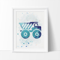 Construction Truck, Truck, Printable Art,  Boys Nursery Printable, Watercolor Art, Colorful Nursery Art, Kids Wall Art, Instant Download