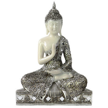 Urban Trends Meditating Buddha in Abhaya Mudra Figurine