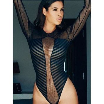 Pinstripe Sheer Bodysuit