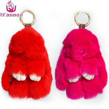 Furs Rabbit Plush Doll With Ring Pendant Bag Car Charm Tag Mini Soft Stuffed Toys for Children Fur Monster Keychain 13cm