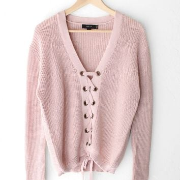 Lace Up Knit Sweater - Mauve