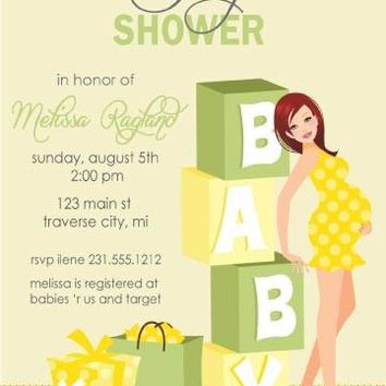 Gender Neutral Blocks Baby Shower Invitations