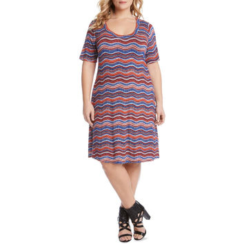 Karen Kane Womens Plus Printed Scoop Neck T-Shirt Dress