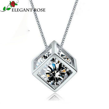 Elegant Rose 925 sterling-silver-jewelry 2 Color Crystal Angel Love Charms Cube Square Locket Pendants Statement Necklace GSZX01