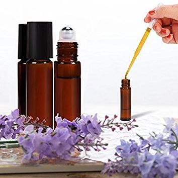 Roll on Bottles 10ml Amber Glass Empty Bottles 8 Piece ULG with Stainless Steel Roller Ball 2 Extra Ball 8 Piece Waterproof Labels 1 Opener and 3ml Dropper for Essential Oils