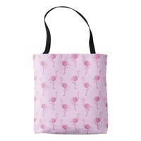 Fabulous Pink Flamingo Watercolor Pattern Tote Bag