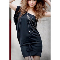 Black One Shoulder Drawstring Waist Dress