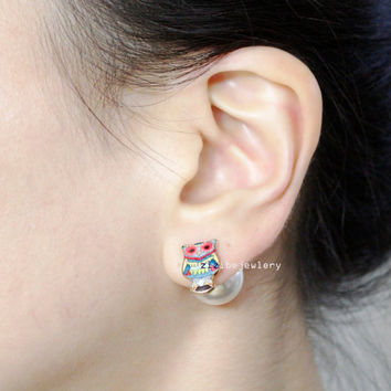Front and Back Owl and Ball Beads , Candy balls Post Earrings, Owl Ear Jakets. Ball Ear Jacket ,E0843S