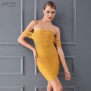 Chic Sexy Yellow Off Shoulder dress