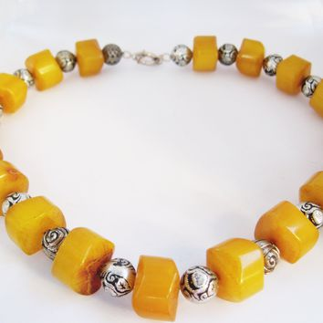 Vintage Bakelite Necklace with Bedouin Chiseled Butterscotch Drum Beads