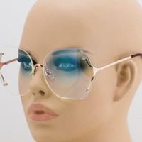 Elite Oversized Rimless Sunglasses Retro Vintage Clear Lens Eyewear For Women