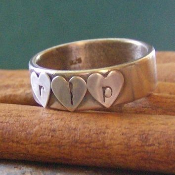 All Heart.......Hand Stamped and soldered personalized sterling silver initial ring