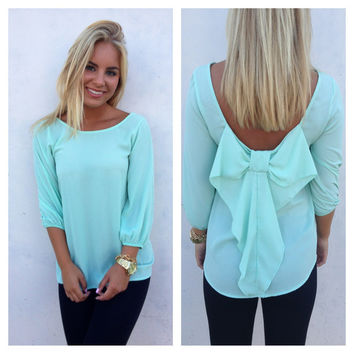 Bow Back Blouse Mint 17