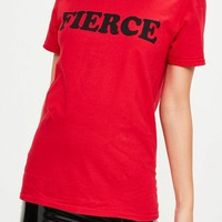 Missguided - Red Logo Printed T-shirt