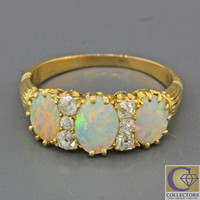 1880s Antique Victorian 14k Solid Yellow Gold Opal .30ctw Old Cut Diamond Ring