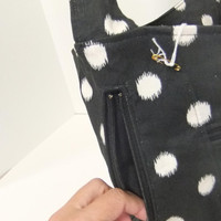 Purse, shoulder bag, cotton duck black with white polka dot purse with pocket and Zipper closure