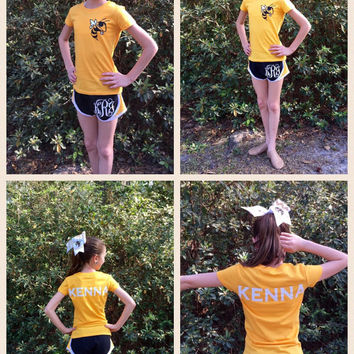 Custom Cheer Camp Outfit, Cheer Bow, Monogrammed Cheer Shorts, Monogrammed Spirit Shirt