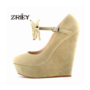 GRILS LOVELY BOW-TIE SUEDE PLATFORM HIGH HEELS WEDGES PARTY SHOES US SIZE 4-11