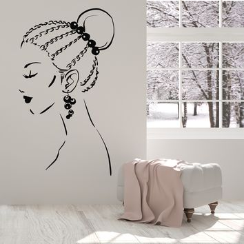 Vinyl Wall Decal Beautiful Girl Face Braids Hairstyle Earrings Stickers Unique Gift (1525ig)