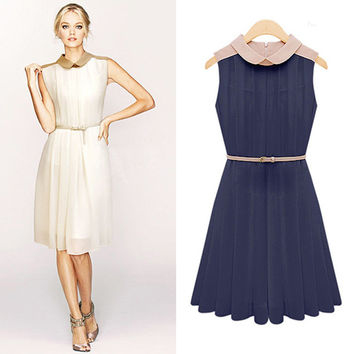 Pleat Sleeveless Chiffon Collared Dress With Belt