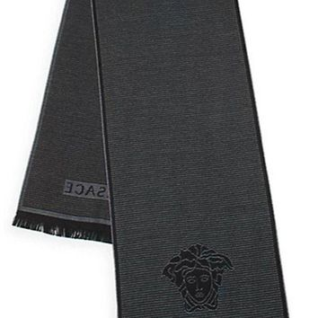 ONETOW Versace Men's Box Patterned Wool Scarf, OS