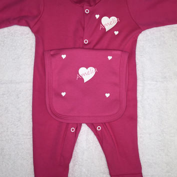 2 piece set  sleep suit with bib girl or boy or DESIGN YOUR OWN