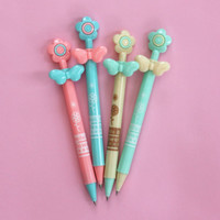 4 x Cute Kids Student Retractable Ballpoint Pens w/Flowers Nursery Stationery