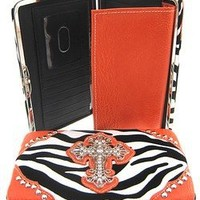 Zebra Print Western Rhinestone Cross Thick Flat Clutch Wallet Bright Orange Trim