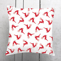 Sale, Christmas Gift, Red Deers, Christmas Design Home Decorative Pillow Cover, Cashion Case Handmade