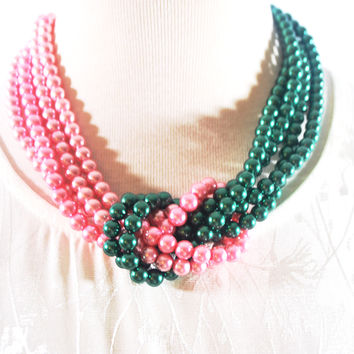 Pink and Green Twist Beaded Pearls Necklace