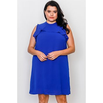 Plus Size Ruffle Tie Back Dress (a)