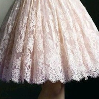 Pink Homecoming Dress, Lace Elegant Short Homecoming Dress with Bow