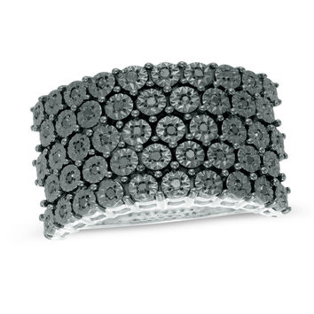 1/8 CT. T.W. Enhanced Black Diamond Five Row Band in Two-Tone Sterling Silver