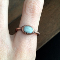 Light Blue Howlite Ring - Statement Ring - Unique Ring - Copper Ring - Semiprecious Stone Ring - SIZE 8.5