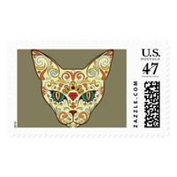 Day of the Dead, Sugar Skull Cat Halloween Stamp