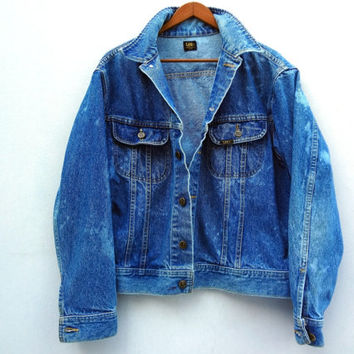 Vintage 80s Acid Wash Lee Jean Jacket - Medium Men's Large Womens - Punk Jacket -