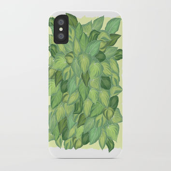 Citric Hostas, leaves arrangement in a tower shape iPhone Case by Camila Quintana S
