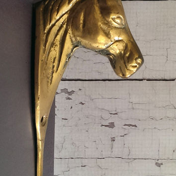 Vintage Brass Horse Hook/ Antique Horse Hook/ Coat Rack Hook/ Brass Hook