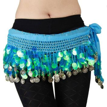 Multi-Row Paillettes Gold Coins Belly Dance Wrap & Hip Scarf, Lively Style -lake blue