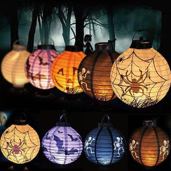 4 Colors Foldable LED Paper Pumpkin Lantern Halloween Bat Spider Skull Outdoor Hanging Light Lamp Props Home Party Decorations