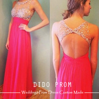 Custom Made Prom Dress, Beaded Bodice Prom Dress,Backless Prom Dresses,Prom Dresses 2014,Chiffon Prom Dresses