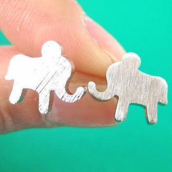 Elephant Silhouette Animal Stud Earrings in Silver | DOTOLY