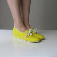 Vintage Yellow Grasshopper Wedge Shoes