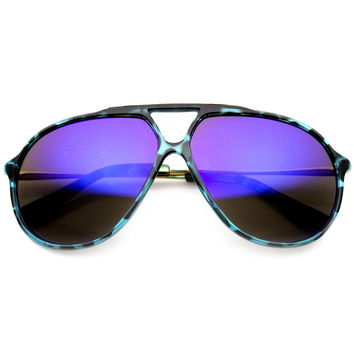 Large Retro Aviator Sunglasses With Flash Mirror Lenses 9740