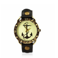 Brown Leather Strap Vintage Anchor Watch