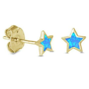 .925 Sterling Silver Yellow Gold Star Blue Fire Opal Ladies and Kids Stud Earrings