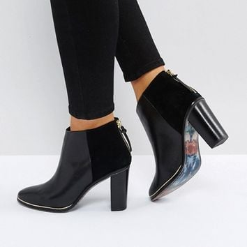 Ted Baker Azaila Black Leather Heeled Ankle Boots at asos.com
