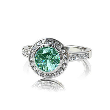 Indigolith Tourmaline halo engagement ring, white gold ring, mint green tourmaline, bezel, tourmaline engagement, diamond ring, wedding