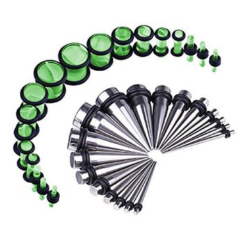 BodyJ4You 36PCS Gauges Kit Stainless Steel Tapers Neon Green Marble Plugs 14G-00G Ear Stretching Set